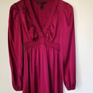 BCBGMaxAzria Burgundy Long Sleeve Mini Dress Silk